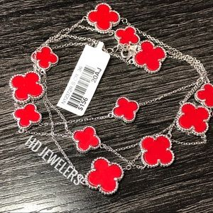 "12 Four leaf Clover Red Coral Long 36"" Necklace"